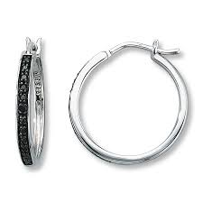 black diamond hoop earrings black diamond earrings cut sterling silver