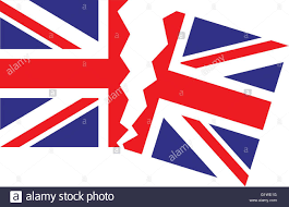 Great Britain Flag Brexit Flag Great Britain Union Jack Tearing In Half Stock Vector