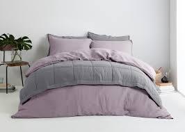 brisa 100 soft washed linen bed set lilac made com