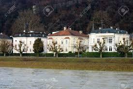 large luxury homes large luxury homes beside the salzach river salzburg austria stock