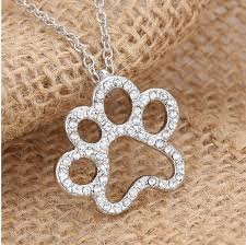 rhinestone pendant necklace images Dog paw rhinestone pendant necklace cool dog accessories jpg