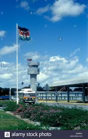 Kenya Africa Flag The Kenya Flag Flies Near The Control Tower Of Moi International