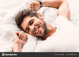 Man Sleeping In Bed Happy Man Sleeping In Bedroom U2014 Stock Photo Iakovenko123 131425994
