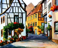 germany town on the hill u2014 palette knife oil painting on canvas