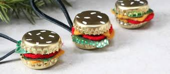 diy bottle cap burger ornaments
