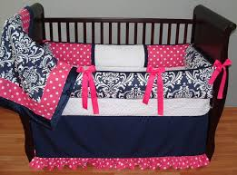 navy and pink crib bedding for girls navy baby bedding