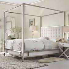 Metal Canopy Bed Inspire Q Solivita White Linen Canopy Button Tufted Metal