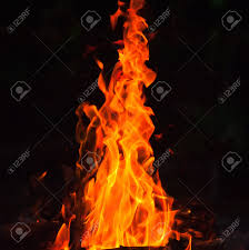burning wood fire and flame orange color on a dark background