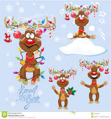 set four funny rein deers with christmas lights royalty free