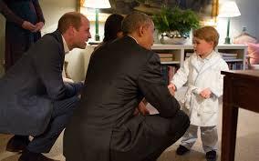 prince george wears bathrobe for president obama u0027s evening visit