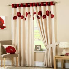 sentinel curtina danielle fl applique faux silk eyelet lined curtains red