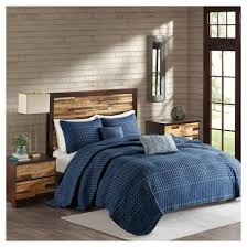 Navy Quilted Coverlet Navy Blake Microfiber Embroidered Multiple Piece Quilt Set 5 Pc
