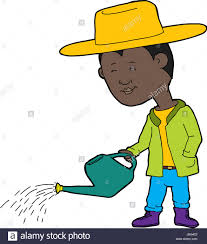 cartoon of cute farmer and watering can with drops of water stock