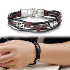 s day bracelet men jewelry vintage leather bracelet luxury brand bangle fashion