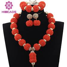 trendy bridal sets wedding coral handmade coral beaded balls pendant