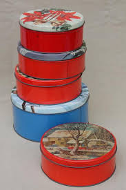 vintage christmas gift tins candy u0026 cookies tin lot in red
