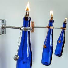 3 cobalt blue wine bottle oil lamps indoor hanging for