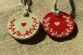 Felt Heart Christmas Ornaments Felt Christmas Ornament Scandinavian Heart Embroidered Snowflake