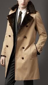 burberry london men long fur collar cotton trench coat men s fashion