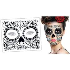 day of the dead black halloween skull face temporary tattoo polyvore