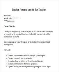 New Teacher Resume Examples Resume Sample For Fresher Teacher Gallery Creawizard Com