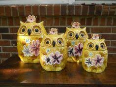 owl canisters for the kitchen vintage 70s 1970s retro owl kitchen decor ceramic yellow owl