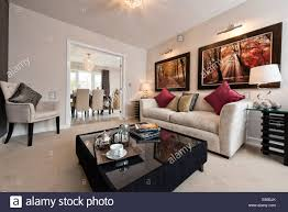 home interior shows the living room of a persimmon homes show home on a typical british