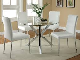 chrome glass dining table w black or white chairs