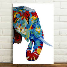 Home Decor Canvas Art Hd Canvas Prints Painted Abstract Color Elephant Head Wall Art