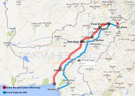 Pakistan On Map Of World by Here U0027s How The Lahore Karachi Motorway Looks Like On Google Maps