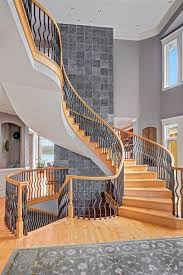 Banister Research Contemporary Staircase With Carved Wood Banister By Debbie