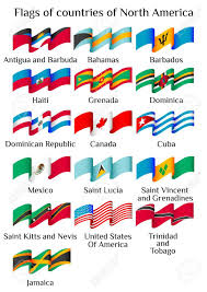 Flags Of Countries Set Of Flying Flags Of North America Countries In Waves Isolated