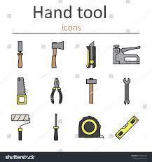 set construction hand tools instruments building stock vector