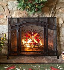magnificent stained glass screen with door fire plow hearth at fireplace screens