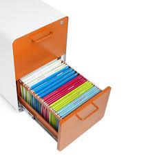 amazon com poppin white orange stow 2 drawer file cabinet