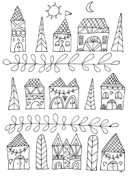 simple houses zen and anti stress coloring pages for adults