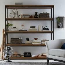 Iron And Wood Bookcase Floor Living Room Shelf Style Wood Clapboard Office Wrought Iron