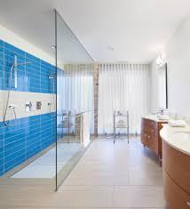 kohler steam shower bathroom modern with open shower blue tile