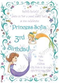 sofia birthday party invitation sofia pool