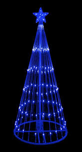6 blue led light show cone tree lighted