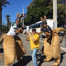kangaroo cheerleaders afl umpire touchdown celebrations