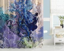 Blue And Orange Bathroom Decor Contemporary Shower Curtain Abstract Art Bathroom Decor