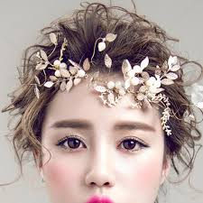 forehead headband handmade fashion gold color leaf headband bridal hair vine
