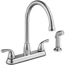 shop project source stainless steel 2 handle deck mount high arc project source stainless steel 2 handle deck mount high arc kitchen faucet