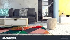 living room interior design 3d rendering stock illustration