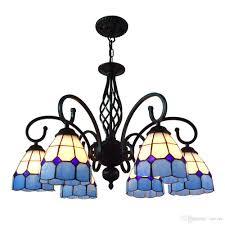 discount oovov mediterranean blue tiffany chandelier black iron