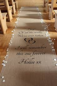 personalized aisle runner personalised hessian aisle runner rolene troue