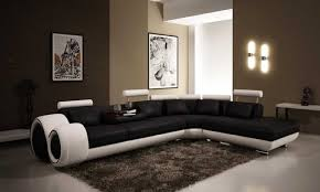 White Leather Sofa Living Room Ideas by Modern Black And White Living Room With Brown Accent Interior