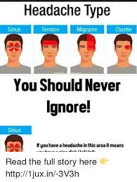 Migraine Meme - headache type cluster migraine sinus tension you should never sinus