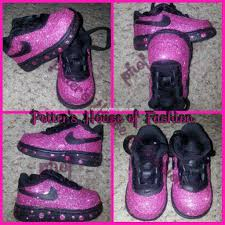 k8484000001145 bling nike air force ones for baby girls and